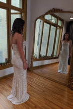 Load image into Gallery viewer, Patterned Sequin Wedding Dress Ivory