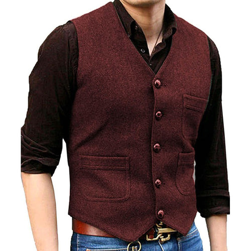 Men's Suit Vest Made-to-Order Burgundy Wedding Prom Waistcoat