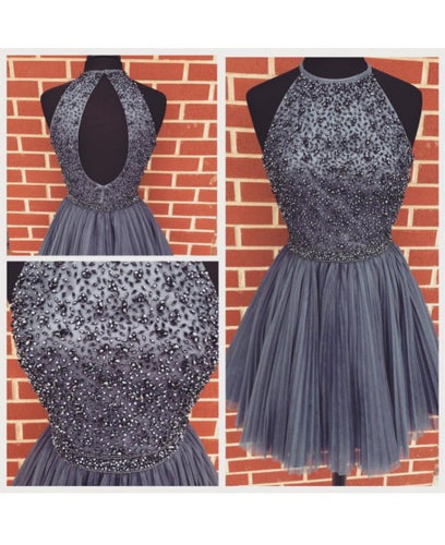 Charcoal Grey Pleated Tulle Homecoming Dress 2020