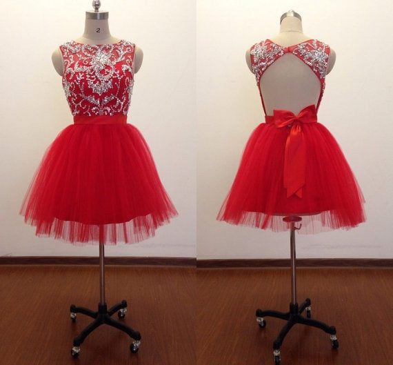 Beaded Red Tulle Homecoming Dress 2020