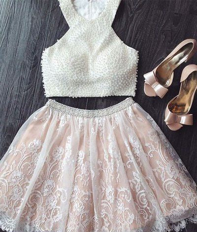 Pearls Ivory Lace Nude Lining Homecoming Dress 2020