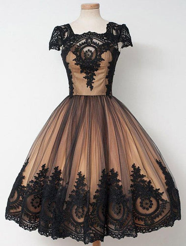 Black Lace Tan Lining Homecoming Dress 2020 Ball Gown