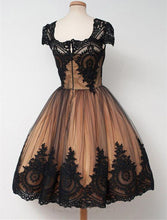 Load image into Gallery viewer, Black Lace Tan Lining Homecoming Dress 2020 Ball Gown