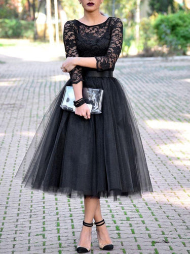 Black Lace Tulle Homecoming Dress 2020 Halloween Dress with 3/4 Sleeves
