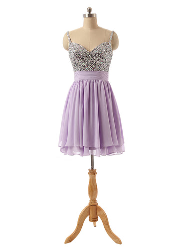 Beaded Homecoming Dress 2020 Light Purple Chiffon Cocktail Dress