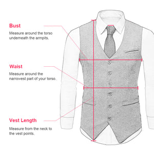 Men's Vest Made to Order Wedding Groomsmen Waistcoat Tailored Collar 2 Pockets 5 Buttons