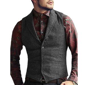 Mens Vest Made to Order Black Wedding Prom Waistcoat Casual Business Tailored Collar 2 Pockets 4 Buttons