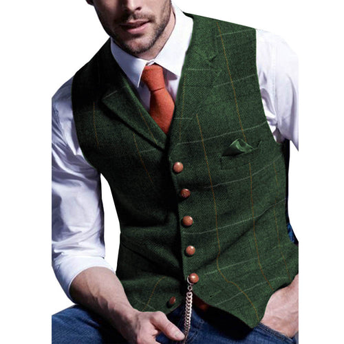 Plaid Mens Vest Made to Order Green Wedding Prom Waistcoat Casual Business Tailored Collar 3 Pockets 6 Buttons