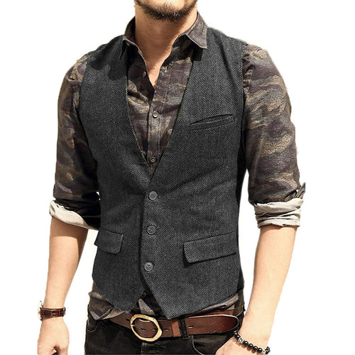 Mens Vest Made to Order Charcoal Grey Wedding Prom Waistcoat Casual Business V-neck 3 Pockets 3 Buttons