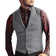 Load image into Gallery viewer, Mens Vest Made to Order Black Wedding Prom Waistcoat Casual Business Tailored Collar 2 Pockets 4 Buttons