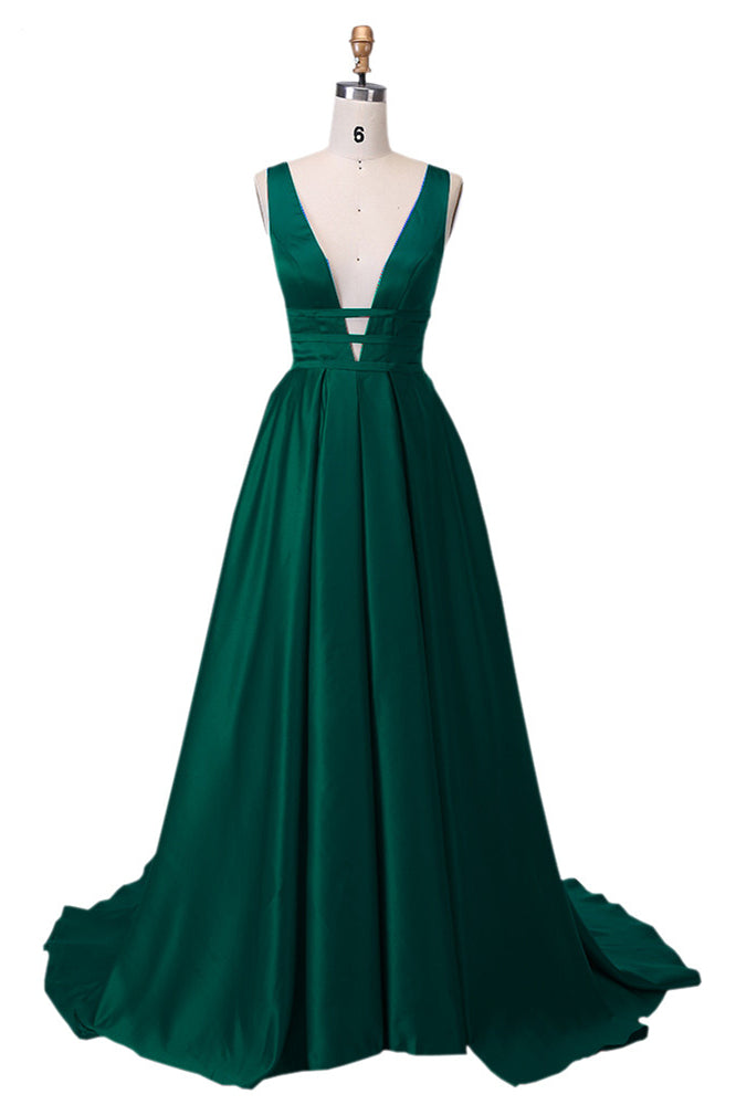 Emerald Green Prom Dress 2021 Satin Maxi Evening Dress Sexy