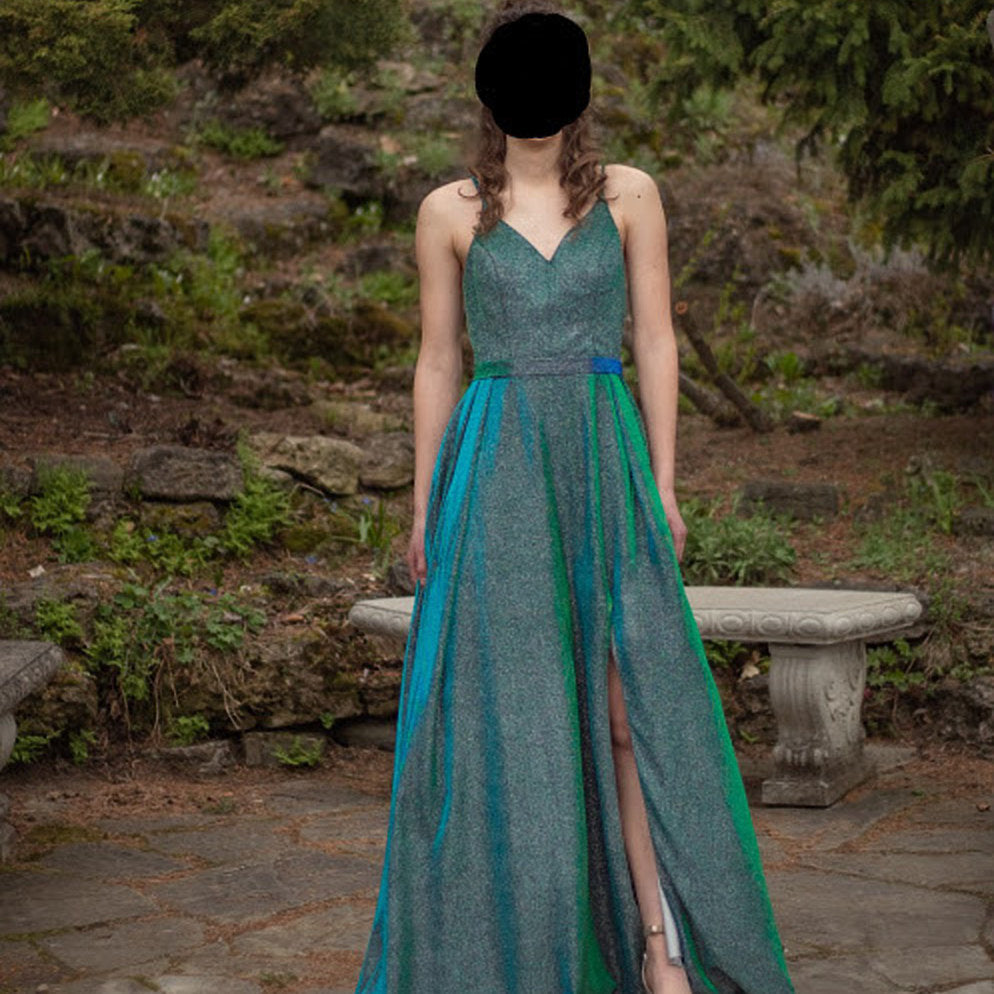 Glitter Long Prom Dress 2020 with Slit