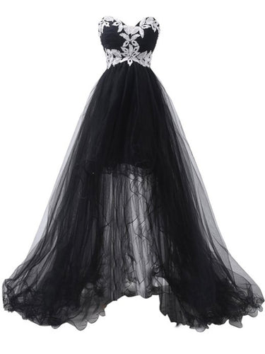 White Lace Black Tulle High Low Prom Dress 2021 Halloween Dress