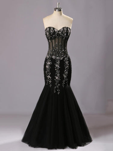 Beaded Black Tulle Mermaid Long Prom Dress 2021 Halloween Dress