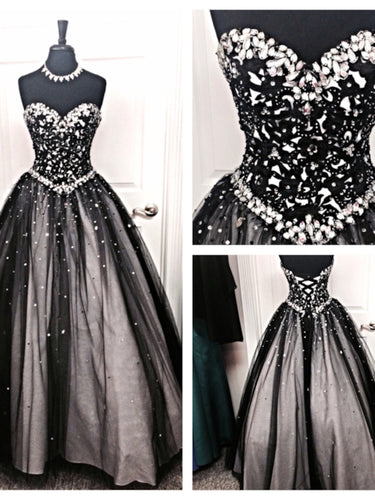 Beaded Black Tulle Ball Gown Long Prom Dress 2021 Halloween Dress