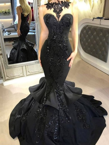 Illusion Top Black Lace Satin Long Prom Dress 2021 Halloween Dress Mermaid