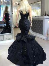Load image into Gallery viewer, Illusion Top Black Lace Satin Long Prom Dress 2021 Halloween Dress Mermaid