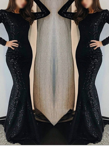 Mermaid Black Sequin Long Prom Dress 2021 Halloween Dress with Long Sleeves