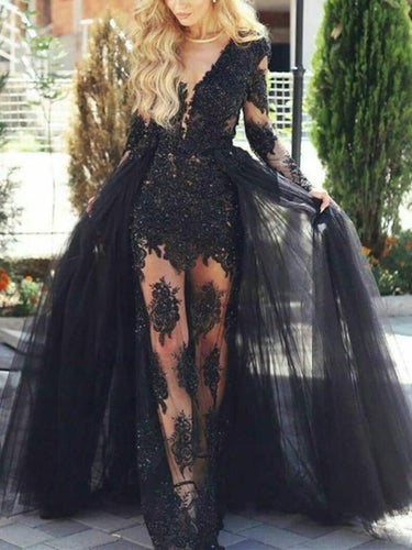 Deep V-neck Black Lace Long Prom Dress 2021 Halloween Dress with Long Sleeves & Tulle Cape