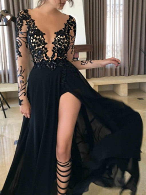 Deep V-neck Black Lace Chiffon Long Prom Dress 2021 Halloween Dress with Long Sleeves
