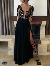 Load image into Gallery viewer, Deep V-neck Black Lace Chiffon Long Prom Dress 2021 Halloween Dress with Long Sleeves