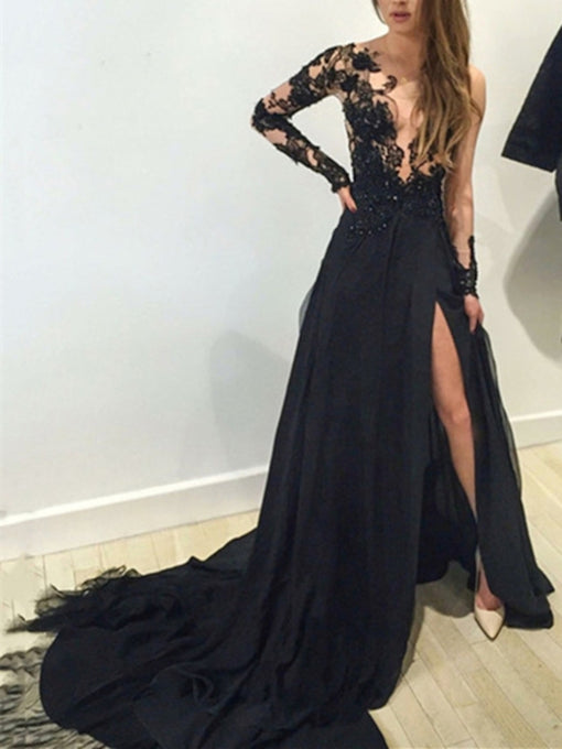 Illusion Scoop Black Lace Tulle Chiffon Long Prom Dress 2021 Halloween Dress with Long Sleeves