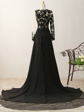 Load image into Gallery viewer, Illusion Scoop Black Lace Tulle Chiffon Long Prom Dress 2021 Halloween Dress with Long Sleeves