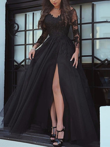 Black Lace Tulle Maxi Prom Dress 2021 Halloween Dress with Long Sleeves