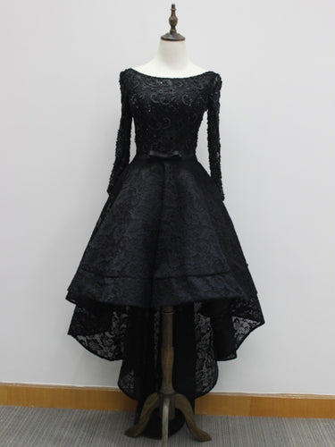 Beaded Black Lace High Low Prom Dress 2021 Halloween Dress with Long Sleeves