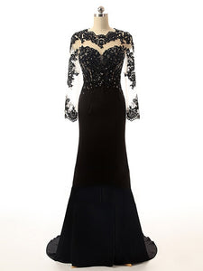 Backless Black Lace Chiffon Long Prom Dress 2021 Halloween Dress with Long Sleeves