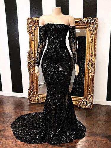 Mermaid Black Patterned Sequin Long Prom Dress 2021 Halloween Dress with Long Sleeves
