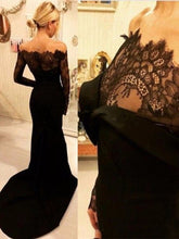 Load image into Gallery viewer, Black Lace Satin Long Prom Dress 2021 Halloween Dress with Long Sleeves