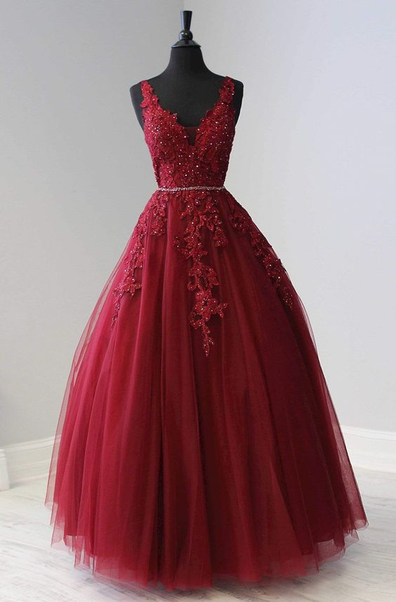 Ball Gown Prom Dress 2021 Burgundy Lace Tulle