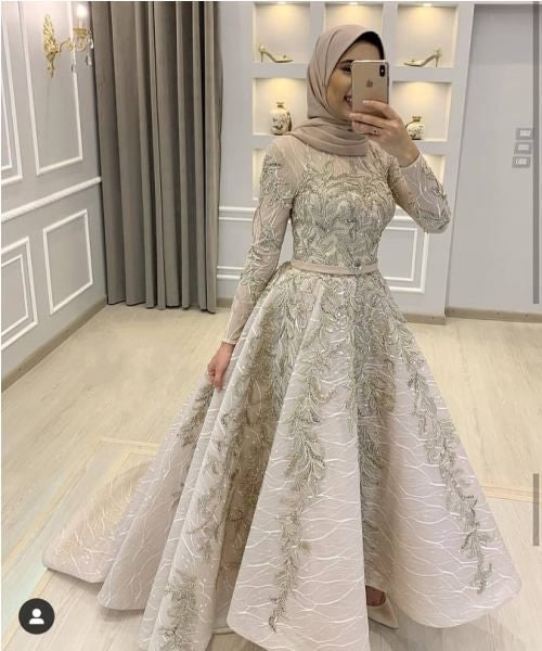 Hijab Prom Dress 2021 Off White Lace Appliques