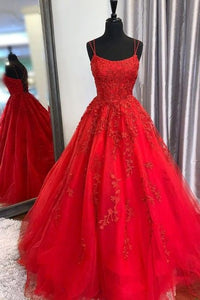Red Prom Dress 2021 Fantasy Gown Lace Tulle Lace-up Back