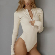 Load image into Gallery viewer, Leotard Sweater Long Sleeve Button Down Bodysuit Top