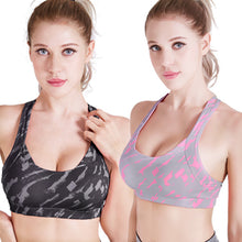 Load image into Gallery viewer, Women's Yoga Activewear Crisscross Camouflage Print Crop Tops