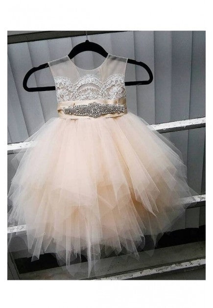 Champagne Tulle Lace Flower Girl Dress