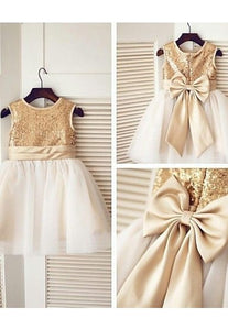 Bronze Gold Sequin Ivory Tulle Flower Girl Dress with Big Satin Bow