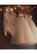 Load image into Gallery viewer, 2 Pieces Lace Bodysuit Tulle Skirt Flower Girl Dress with Long Sleeves