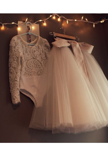 2 Pieces Lace Bodysuit Tulle Skirt Flower Girl Dress with Long Sleeves