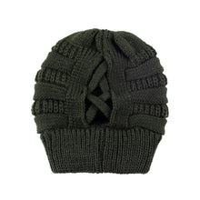 Load image into Gallery viewer, Knit Beanie Criss Cross Back Soft Thick Warm Hat