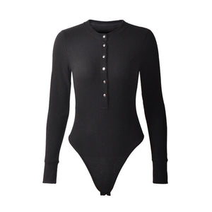 Leotard Sweater Long Sleeve Button Down Bodysuit Top