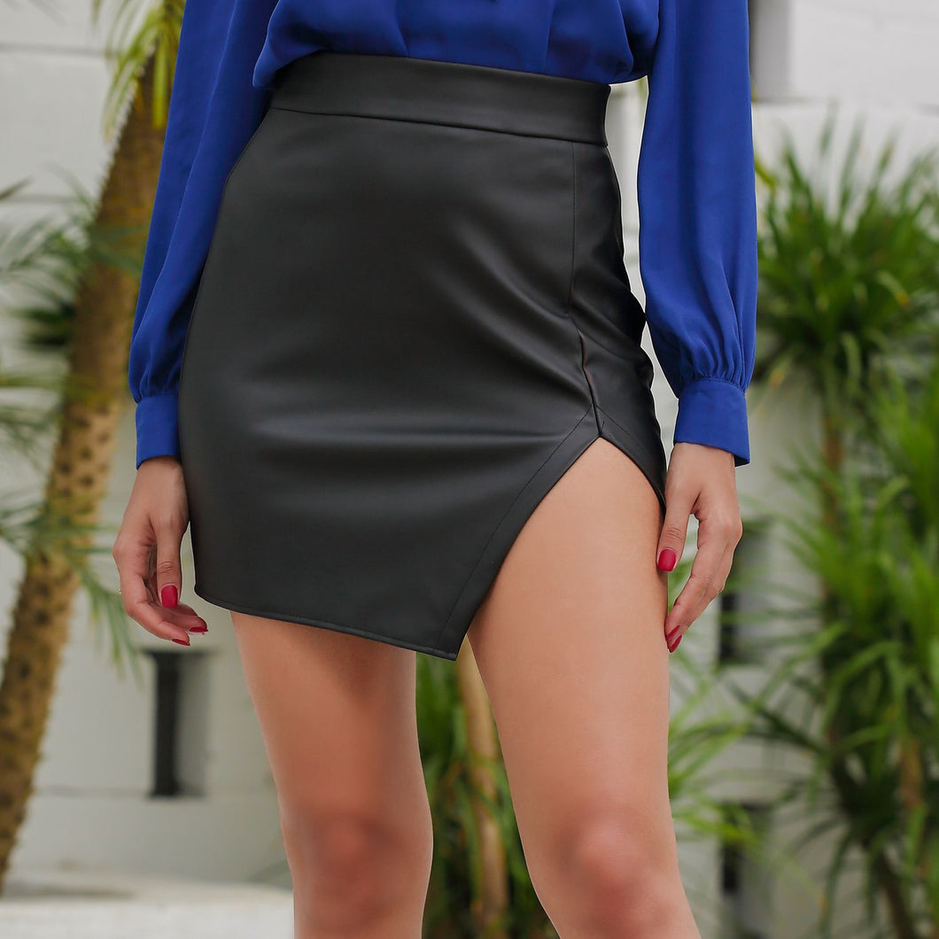 Women's Black Cut Out Mid Waist Asymmetric Hem PU Mini Skirt