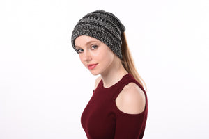 Ponytail Beanie Soft Knit Thick Warm Hat