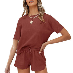 Lounge Sets For Women Short Sleeve 2 Piece Casual Outfits