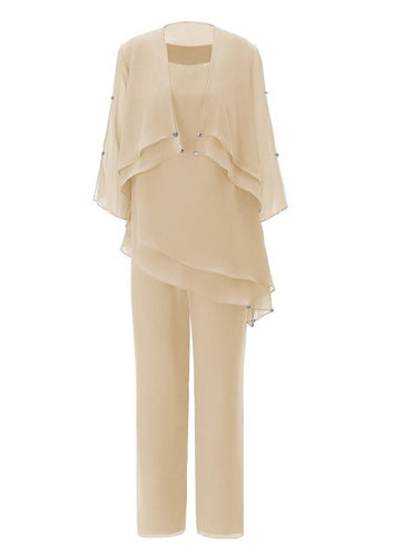 Champagne Mother of the Bride Dress Pantsuits Womens Asymmetrical Chiffon Suit with Short Outfit Jacket 3 Pieces