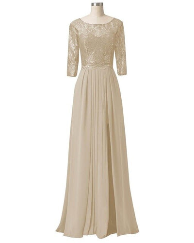 Elegant A Line Half Sleeves Lace Mother Of the Bride Dress Gown Chiffon For Wedding Groom Long Formal Evening Dress