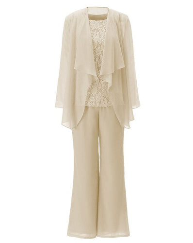 Women 3 Pieces Chiffon Lace Pant Suits Mother of the Bride Dress with Long Sleeves Outfit Jacket