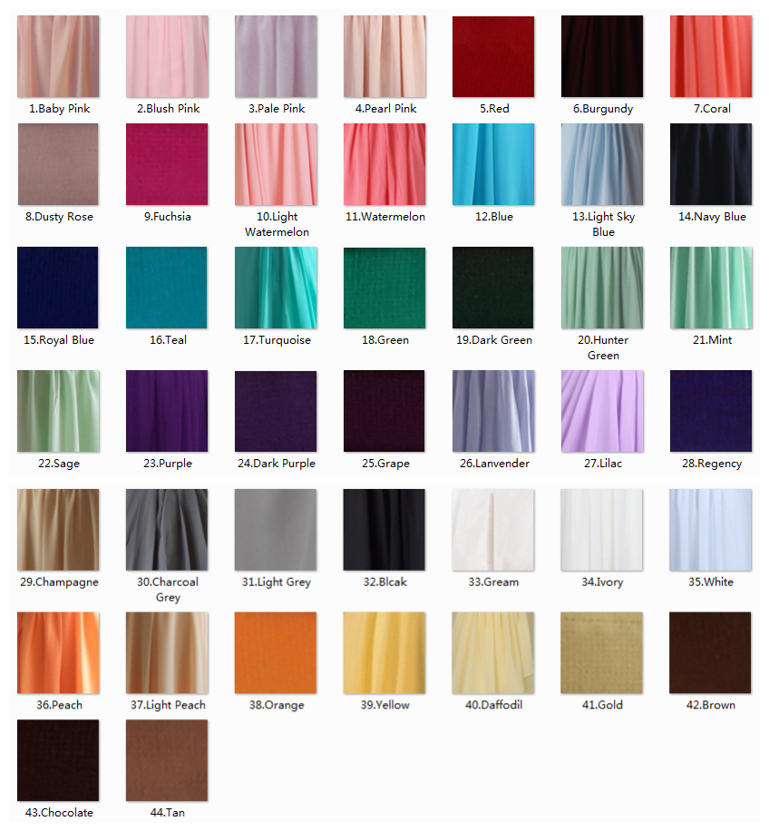 Chiffon Fabric Swatches